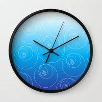 fibonacci Wall Clocks featuring Blue Fibonacci Circles by Alexandra Love + Beautiful Chorus