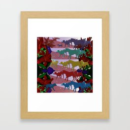 Dogs and Flowers Framed Art Print
