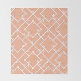 Bamboo Chinoiserie Lattice in Peach + White Throw Blanket