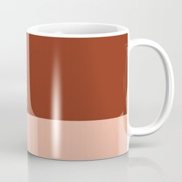 Rich Maroon Rust and Pale Salmon Color Block Coffee Mug
