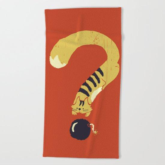 Question Mark (Curiosity Kills The Cat) Beach Towel