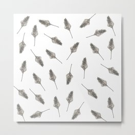 Grayscale Feathers Metal Print