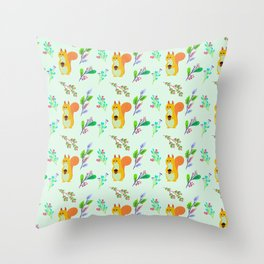Cute hand painted yellow orange squirrel teal coral floral pattern Throw Pillow