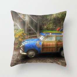 Off to Fulfill a Surfing Dream Throw Pillow