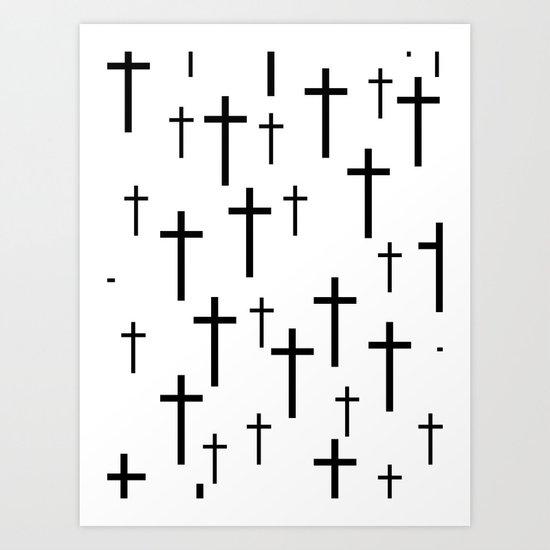 Crosses (White) Art Print