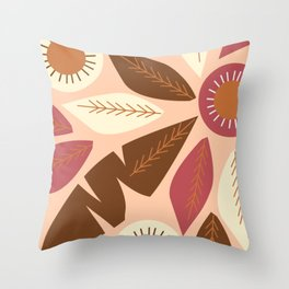 Brown leaves on coral Throw Pillow