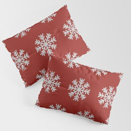 Knitted snowflakes Christmas pattern on red Pillow Sham