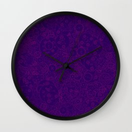 Clockwork PURPLE DREAM / Cogs and clockwork parts lineart pattern Wall Clock