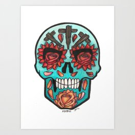 Teal Calavera with Roses Art Print