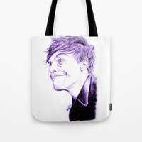 louis tomlinson Tote Bags featuring Louis Tomlinson by Drawpassionn