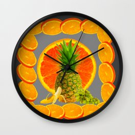 CONTEMPORARY  PINEAPPLE  & ORANGES GRAPES GREY ART DESIGN decor, Wall Clock