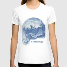 Lower Falls, Ticonderoga (cyan) LARGE Womens Fitted Tee White
