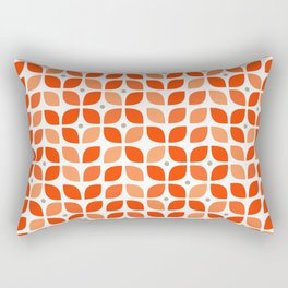 Red geometric floral leaves pattern in mid century modern style Rectangular Pillow