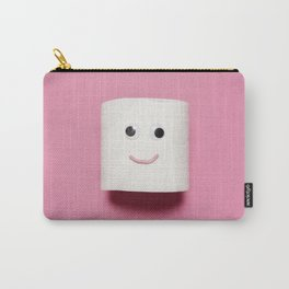 Happy toilet paper on pink background Carry-All Pouch