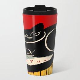 Black cat on a striped cushion Metal Travel Mug