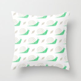 Cute modern pastel green brown watercolor snails pattern Throw Pillow