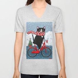 Winter Tuxedo Cat Bicycle Ride Unisex V-Neck