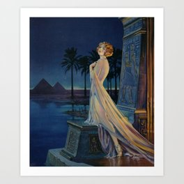 Melody of Ancient Egypt Art Deco romantic female figure by the River Nile painting by Henry Clive Art Print
