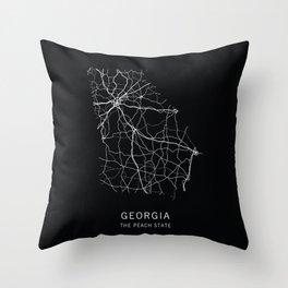 Georgia State Road Map Throw Pillow