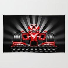 Formula 1 Red Race Car Rug