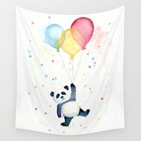 panda Wall Tapestries featuring Panda Floating with Balloons by Olechka
