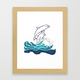 Happy Dolphins Framed Art Print