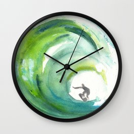 Wave with Surfer Wall Clock