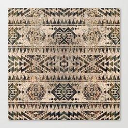 Ethnic Geometric Bark and Wood texture pattern Canvas Print