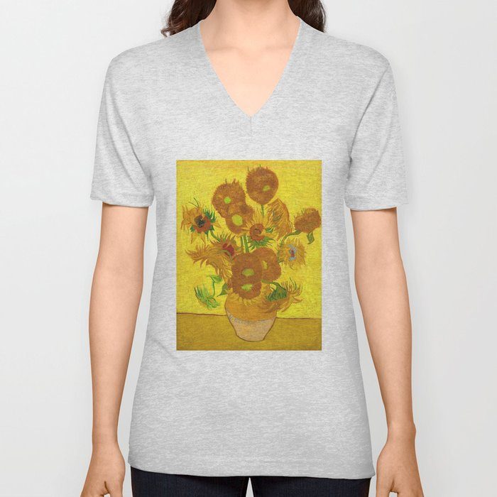 Vincent Van Gogh Fifteen Sunflowers In A Vase Unisex V Neck By