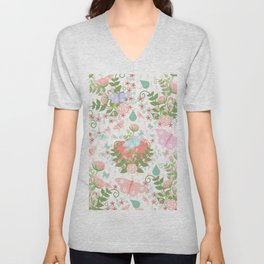 Pastel coral pink green butterfly floral polka dots Unisex V-Neck