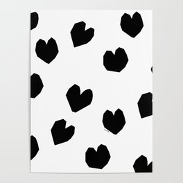 Love Yourself no.2 - black heart pattern love art black and white illustration Poster