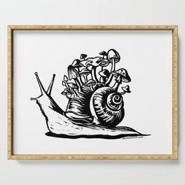 Mushroom Snail Linocut Serving Tray