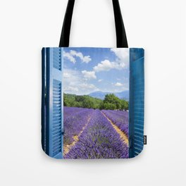 wooden shutters, lavender field Tote Bag