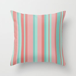 Vertical Stripes in Aqua and Coral Pink. Minimalist Striped Color Block Design in Cheerful Colors Throw Pillow