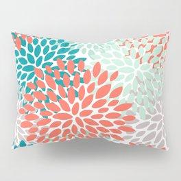Floral Pattern, Living Coral, Teal, Mint Green, Floral Prints Pillow Sham
