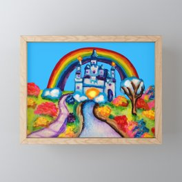Castle Fantasy Floral Rainbow Landscape Framed Mini Art Print