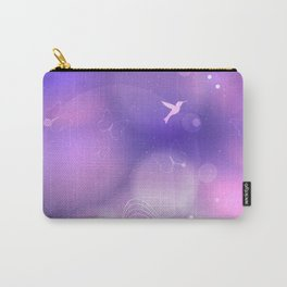 floral background with flowers, leaves, bird and branches of blooming tree. Stylized garden in tints Carry-All Pouch
