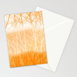 Frosted Winter Branches in Dusty Orange Stationery Cards
