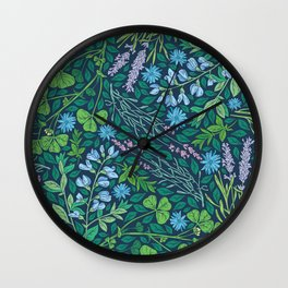 Lavender and lupine with cornflowers on herbal background Wall Clock
