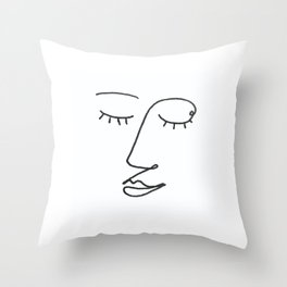 Abstract Black and White Line Drawing Woman's Face Sleeping Throw Pillow