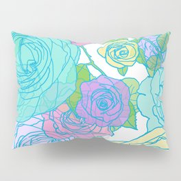 Pop Roses in Bright Preppy Colors Pillow Sham