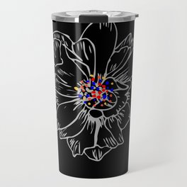 White stroke flower rainbow anthers Travel Mug