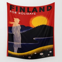 Vintage Finland Travel Wall Tapestry