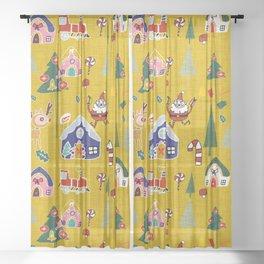 Santa Claus Yellow #Christmas #Holiday Sheer Curtain
