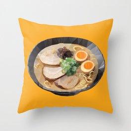 Japanese Tonkotsu Ramen Polygon Art Throw Pillow