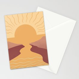 Abstraction landscape Sunrise to Sunset Stationery Cards