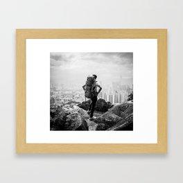 Hiker Over the City Framed Art Print