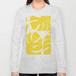Mellow Yellow Monstera Leaves White Background #decor #society6 #buyart Long Sleeve T-shirt