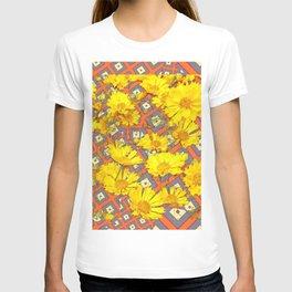 Golden Yellow Blooming Coreopsis Flowers Modern Art T-shirt