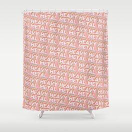 Heavy Metal Trendy Rainbow Text Pattern (Pink) Shower Curtain